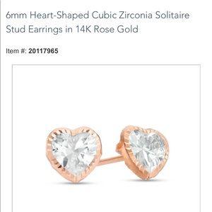 14K Rose Gold Heart Cubic Zirconia Stud Earrings